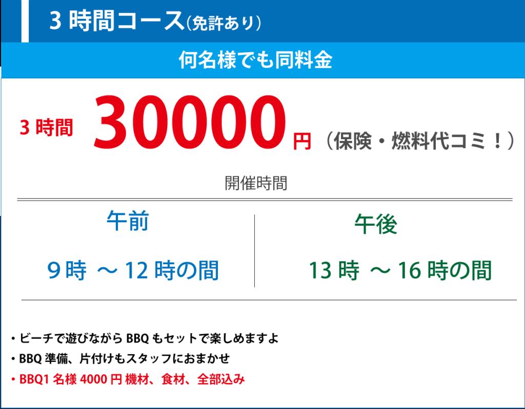 3時間コース30,000円(保険・燃料代コミ)何名様でも同料金、開催時間、午前:9時~12時の間 午後:13時~16時の間