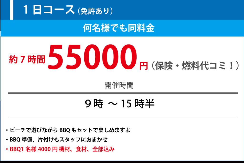 1日コース55,000円(保険・燃料代コミ)何名様でも同料金、開催時間、9時~15時30分